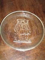 Gyönyörű  vintage barokk jelenetes antik üvegtál kínálótál tányér