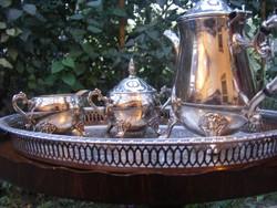 Neobarokk, ezüstözött, 4 db-os vastagon ezüstözött, teás vagy kávés készlet plasztikus mintával