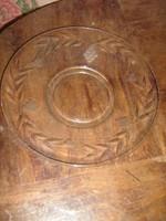 Gyönyörű  vintage csiszolt antik üvegtál kínálótál