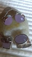 Ezüst gyűrű, medál, fülbevaló-különleges rózsakvarccal!!!!!!!!!!!!!!!