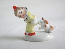 Wagner & Apel német porcelán bohóc fiú kutyával