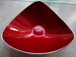 Ezüstözött retro kínálótálka, belül vörös zománc, Reed&Barton
