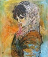 Kiki Női Portré Modern Olajfestmény 50x60cm Keret nélkül!