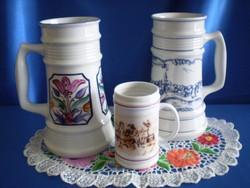 2 db Alföldi porcelán nagy sörös korsó + ajándék Hollóházi sörös korsó