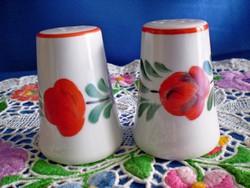 Különleges festésű Kalocsai porcelán asztali paprika és só szóró
