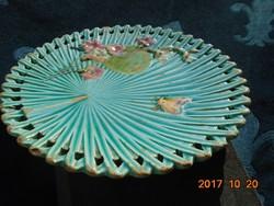 """1891-Villeroy&Boch-Antik türkizkék majolika dísztál-pillangós-legyezős-virágos-""""pálmafa"""" minta-20 cm"""