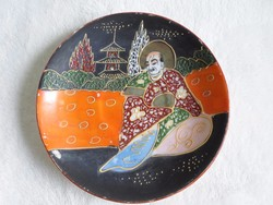 Porcelán, kézzel festett jelzett kis Satsuma tányér 14 cm