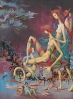 """Kolozsvári Grandpierre Miklós """"Boldogság kék madara"""" című nagyméretű szürrealista olajfestménye"""