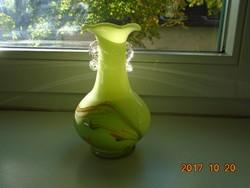 Muránói-Carlo Moretti (1934-2008) almazöld sokszínű mintával váza