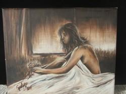 Romantika/Kis olaj-vászon festmény/