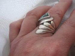 """Ezüst gyűrű """"angyalszárny"""" egy kevés abalonnal"""