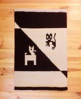 'BÉKÍTŐ' kézzel szőtt etno indián gyapjú szőnyeg, faliszőnyeg horgolt szegéllyel