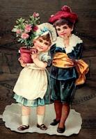 Antik francia dombornyomott figura/ gyermekek  1890es évek