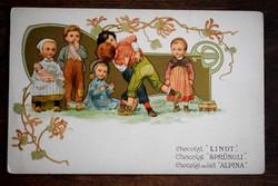 Szecessziós, aranyozott litho csokoládé reklám képeslap 190?