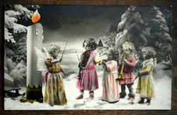Karácsonyi képeslap angyalkáknak öltözve fotólap  1938  Amag