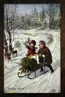 Karácsonyi képeslap, szánkó hó fenyő  1921