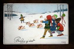 Karácsonyi képeslap gyerekek, kismalacok   P. Ebner 192?