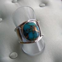 Réz-türkizköves gyűrű, széles ezüst sínnel