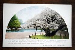 Antik japán művészlap tájkép cseresznyefa virágzás fotó