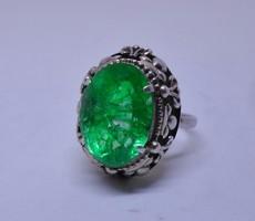 Szépséges  antik smaragdköves  ezüstgyűrű