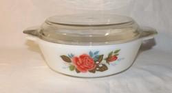 Angol tejüveg edény  rózsa mintás