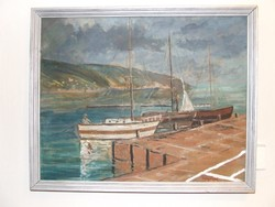 Egry József vízparti életkép festmény