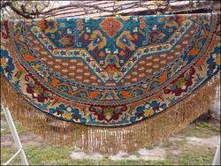 Antik Kelim selyemszálas oval terítő , nagy méret ! 177 x 140 cm. + 20 cm. rojt