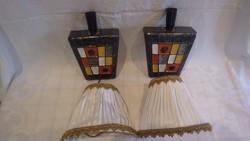 Retro iparművész kerámia fali lámpa pár ernyőkkel