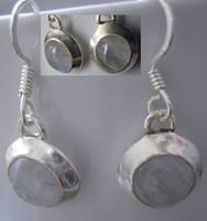 925 ezüst fülbevaló szivárványos holdkővel