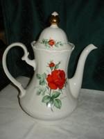 Bavaria Winterling mesés porcelán nagy méretű teás kanna vörös rózsával