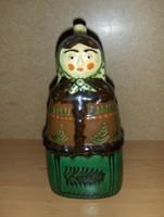 Mónus terrakotta népviseletes asszony butélia pálinkás palack 23 cm (fp)