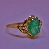 Gyönyörű smaragd,gyémánt,aranygyűrű