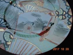 19.sz.antik japán Kutani kézzel festett-porcelán tányér-vaspiros-arany jelzéssel-18 cm