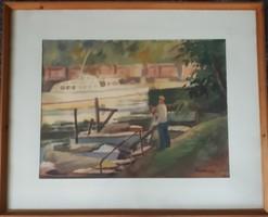 Sopron, Szarka Árpád: kikötői életkép festmény