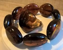 Retro borostyán színű karkötő hozzá való gyűrűvel egyben