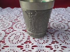 Vadász jelenetes ón rövid italos pohár  0906