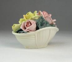 0O670 Régi ENS porcelán rózsás kosár