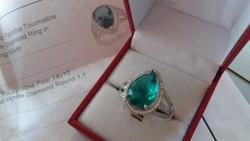 Paraiba turmalin és gyémánt koktél gyűrű ezüst.Igazolással.ÚJ!!!