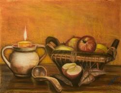Kosaras csendélet almával, gyertyával - Gáspár Zoltán