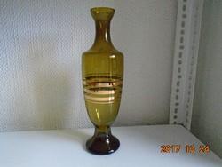 Aranycsíkos borostyán üveg kiöntő-28 cm