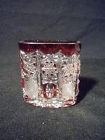 S135 Régi bordóra színezett kristály váza