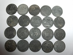 1943-as 2 fillérek, 20 darabból álló tétel