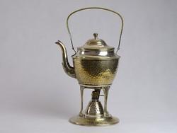 0J557 Régi ezüstözött réz spiritusz égős teafőző