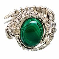 Unisex Hatalmas Egyedi kézműves  925 ezüst gyűrű Malachit kővel