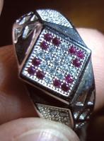 925 ezüst gyűrű rubin, leuko topáz, 18,3/57,5 mm