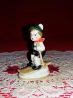 Antik Fasold & Stauch porcelán ritka síeló figura a képek szerint 8 X 6 cm