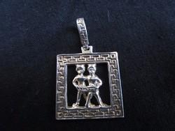 ART DECO DEKO ezüst medál ÉKSZER IKER HOROSZKÓP 3 X 2 cm