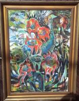H Barakonyi Klára Nagyméretű színpompás olajfestménye :Kertben