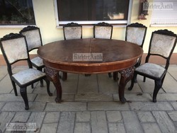 Antik bútor, Asztal 6db székkel.