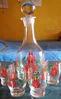 Kézzel festett likőrös üveg 4 pohárkával.